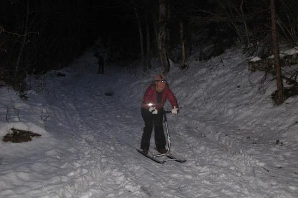 A kick-sledge hike in Taevaskoda at night