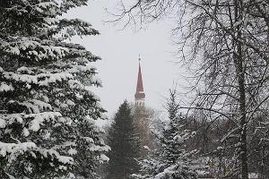 Sillapää Castle park. View of Church of St. Michael in Räpina.