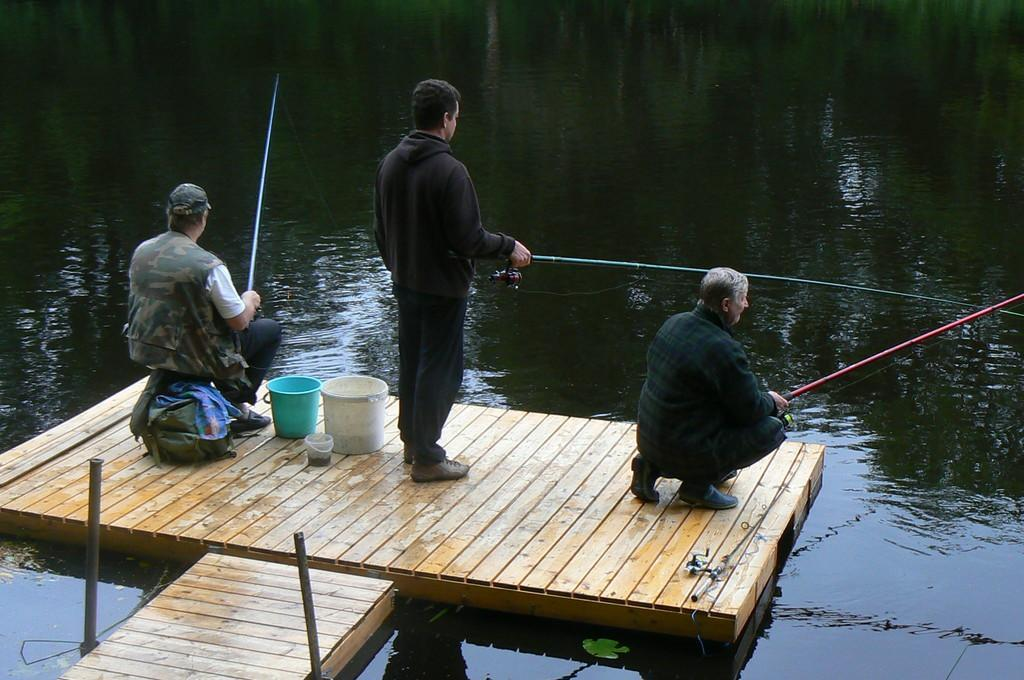 Fishing on the pier of River Rose Guesthouse in Tori Parish in Pärnu County on the edge of Soomaa