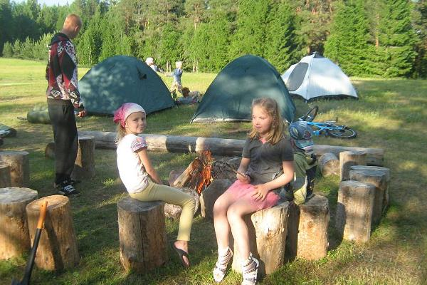 Campfire and camping sites
