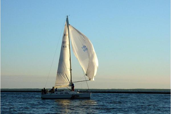 Sailing around Pärnu Bay at sunset.