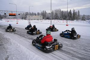 Winter go-karting at Laitse Rally Park