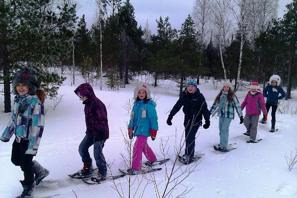Snowshoeing with children!