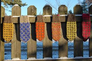 Patterned mittens made of the wool of the Kihnu native sheep