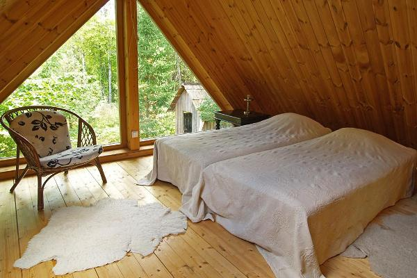 Bedroom in the sauna of the Mokko Farm