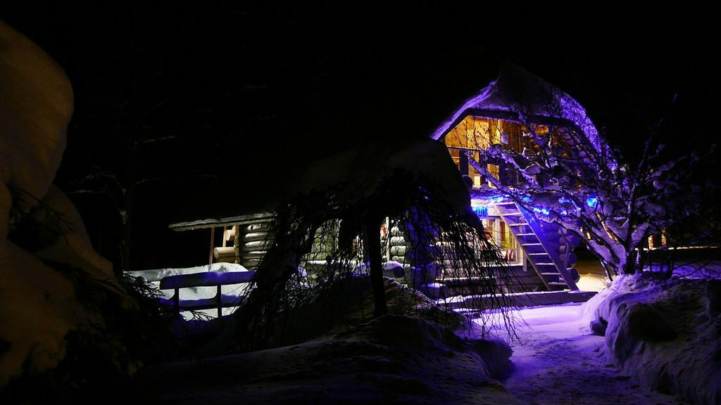 Sauna house in a winter's night