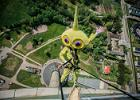 Outdoor fun and games with eti the mascot in the TV tower of Tallinn
