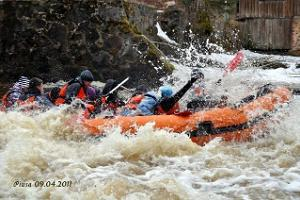 Spring rafting on River Piusa