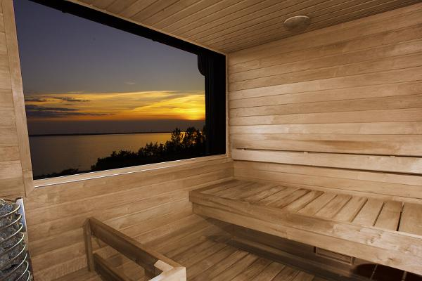 The private sauna in the tower offers a wonderful sea view