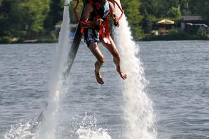 Flying with a jetpack