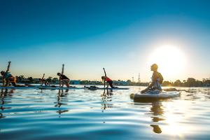 SUP yoga on paddle boards