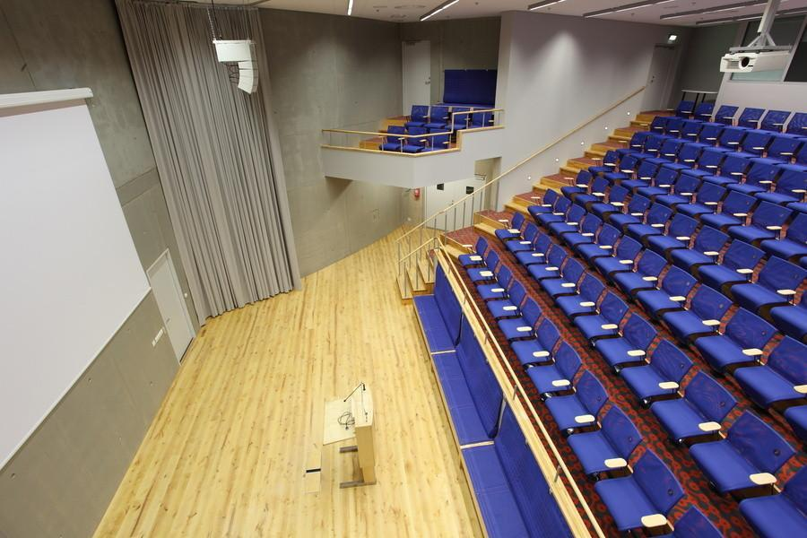 The Lektoorium conference room with its inclined floor