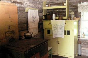 Farm kitchen with a wood stove as in the ancient times