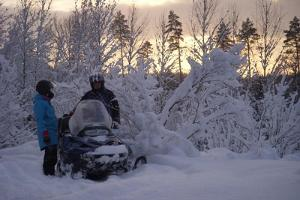 On a snowmobile in Kõrvemaa