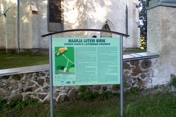 Otepää Maarja (St Mary's) Lutheran Church – information board
