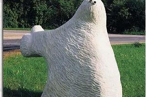 "Limestone sculpture ""Hitchhiker"" at the edge of Paide Town"