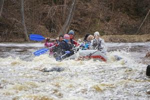 No one stays dry on a rafting trip!