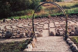Otepää stone labyrinth with a gate