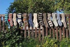 Striped socks made of the wool of the Kihnu native sheep
