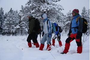 Snow shoe hike in Linnuraba