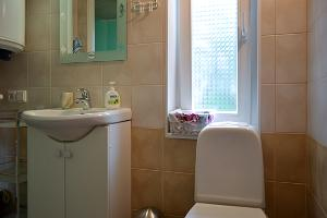 The toilet and shower room is small but contemporary.