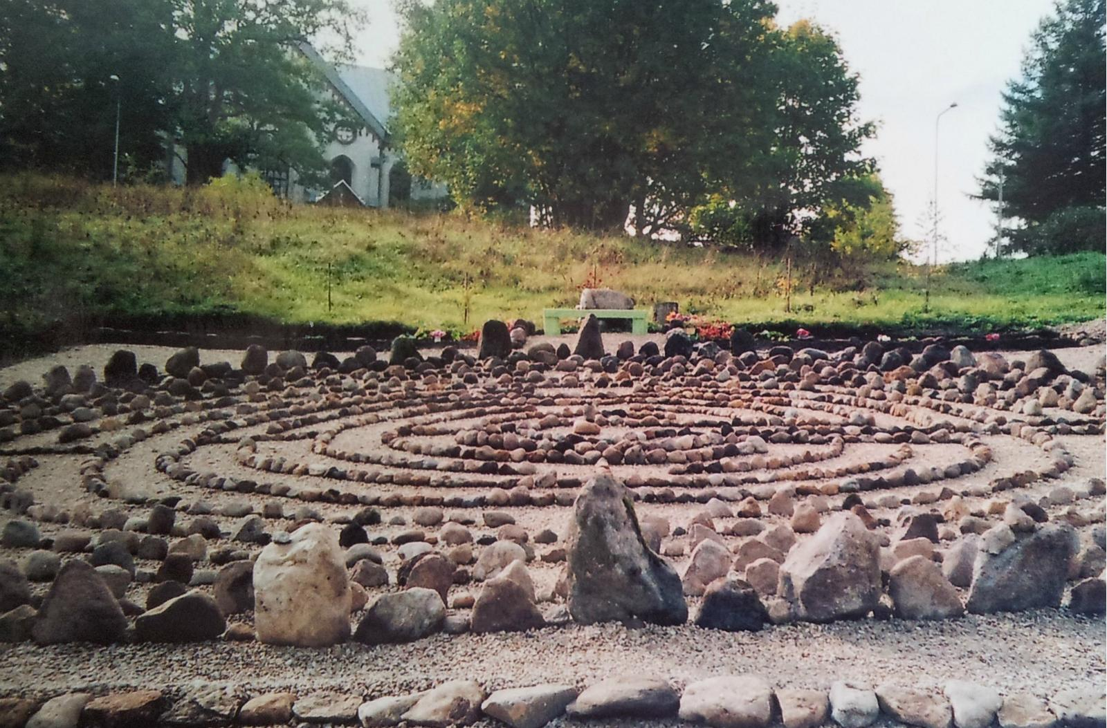 Red stone labyrinth of St. Mary's Church in Otappa, Estonia