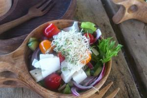 Fresh salad with goat cheese
