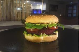 Vegan burgers with a juicy beetroot and chickpea burger