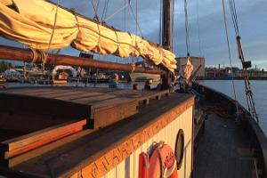 Sailing with an old wooden yacht