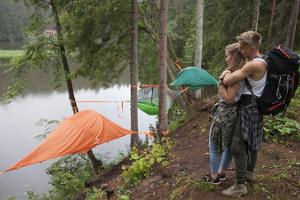 Sleeping in tree tents in Taevaskoda and canoeing on River Ahja
