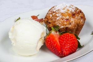 Muffin with ice-cream