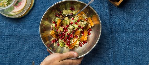 Pearl barley salad with sauerkraut and roasted pumpkin