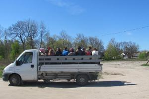 Transport on Kihnu Island in a truck car