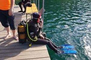Rehearsal diving at Lake Rummu