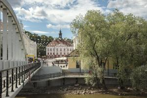 Kaarsild Bridge and Tartu Town Hall Square
