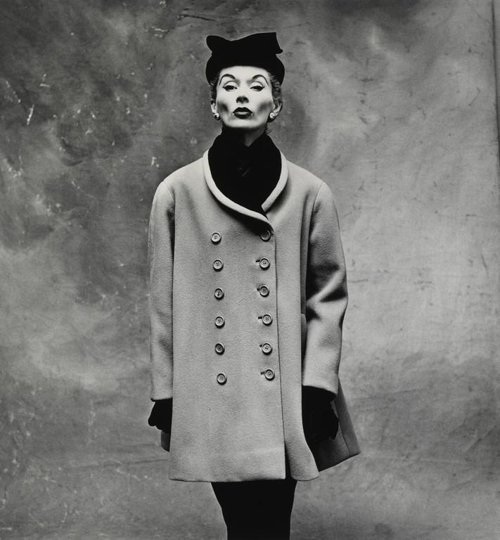 "Irving Penn (1917–2009). Balenciaga ""Little Great Coat"" (Lisa Fonssagrives-Penn). 1950, Paris. Moderna Museet, Sweden. © The Irving Penn Foundation"